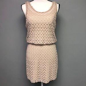 Free People Crochet Layered Mini Dress Cream Beige